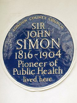 Sir john simon 1816 1904 pioneer of public health lived here