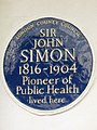 Sir John Simon 1816-1904 Pioneer of public health lived here.jpg