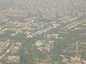 Siri Fort Sports Complex und Gulmohar Park vom Final aus gesehen