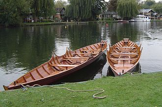 Skiffing - A pair of double racing skiffs