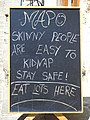 Skinny People Are Easy to Kidnap - Restaurant Sign in Gjirokastra - Albania (41688847484).jpg