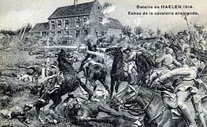 "Battle of Halen - Contemporary postcard depicting the ""failure of the German cavalry"" at Halen."