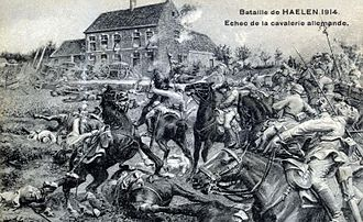 "Battle of Halen - Contemporary postcard depicting the ""failure of the German cavalry"" at Halen"