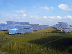 Erlasee Solar Park - Photography of several solar trackers, each suspending a dozen of solar panels