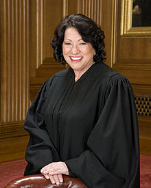A formal pose from waist up of a smiling, light-medium-skinned woman with somewhat curly black hair of almost shoulder length, dressed in a black judicial robe and standing behind a chair with hands folded on the chair, in formal-looking room with medium brown wood paneling and a bit of painting on a wall.