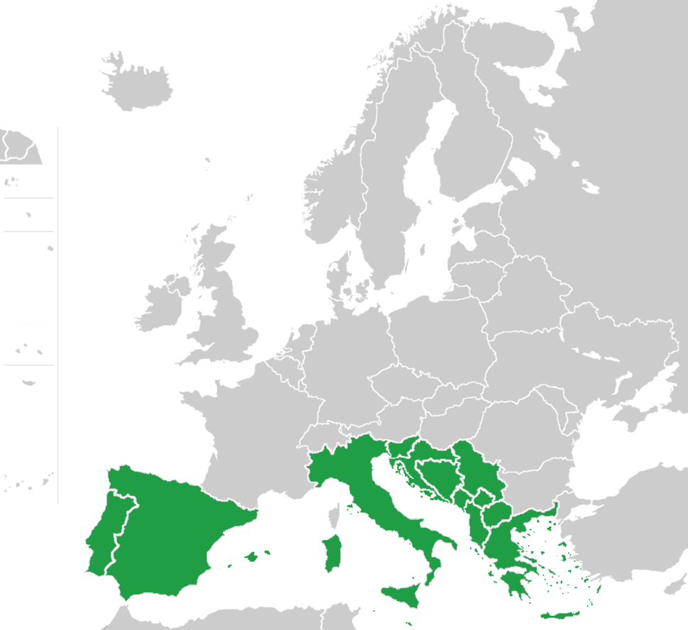 Southern Europe map green
