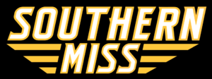 Black and Blue Bowl - Image: Southern Miss Script Logo