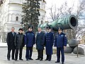 Soyuz TMA-21 prime and backup crews in front of the Tsar Cannon.jpg