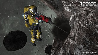 Space Engineers - An astronaut mining an asteroid for resources using a hand drill