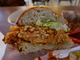 Spaghetti sandwich - Close-up cross view of a spaghetti sandwich