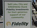 Sponsor sign at GREENbike Fidelity Station, Apr 15.jpg
