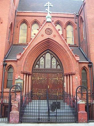 American Carpatho-Russian Orthodox Diocese - The entrance to the Church of St. Nicholas of Myra in the East Village of Manhattan, New York City, designed by James Renwick, Jr. and W. H. Russell in 1883 as a chapel for St. Mark's Church in-the-Bowery but now part of the ACROD.