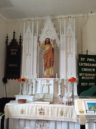 Wittenberg, Missouri - Image: St. Paul's Wittenberg, Missouri Lutheran Church Altar