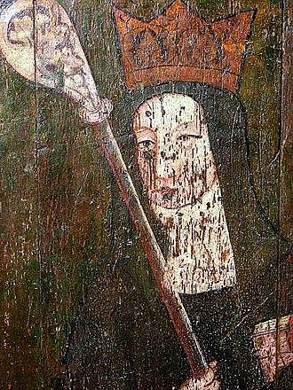 Wihtburh - St. Wihtburh, depicted in a rood screen in Dereham