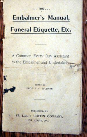 Frederick D. Gardner - Image: St Louis Coffin embalmer study book