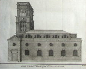 St Olave's Church, Southwark - St Olave's, Southwark, engraving by Benjamin Cole, 1756