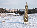 Standing stone in the snow - geograph.org.uk - 1626456.jpg