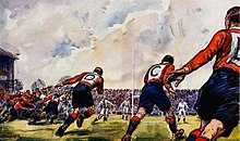 Painting of Wales players lined up behind a scrum poised to rush forward.