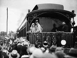 Royal visits to Australia - Prince Albert, Duke of York, and the Duchess of York on the balcony of State Car 4 in Victoria in 1927.