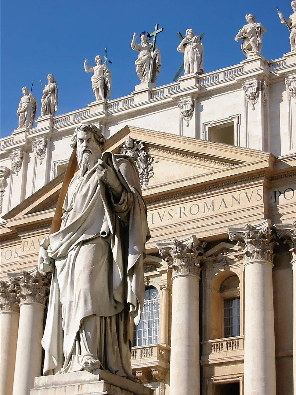 Statue of Saint Paul, on Saint Peter Square Rome Italy