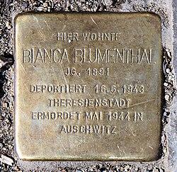 Photo of Bianca Blumenthal brass plaque