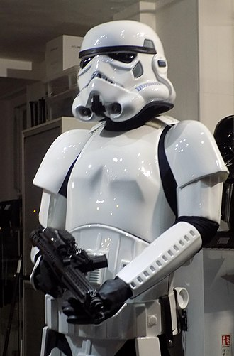 Blaster (Star Wars) - Stormtrooper wielding the E-11 blaster rifle