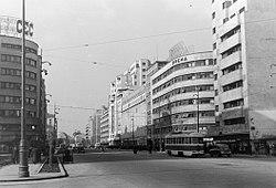 Strada Republicii (Bulevardul General Gheorghe Magheru) a Strada C. A. Rosetti kereszteződésétől nézve. Fortepan 9661.jpg