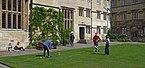 Students play cricket at Corpus Christi College. Oxford, UK.jpg