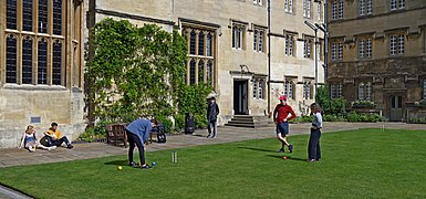Students play cricket at Corpus Christi College. Oxford, UK.jpg