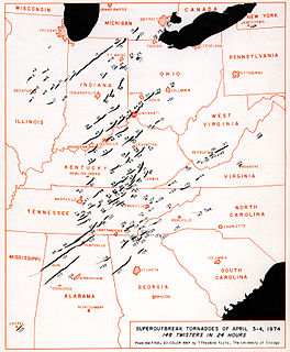1974 Super Outbreak April 1974, the 2nd-largest tornado outbreak ever in a 24-hour period