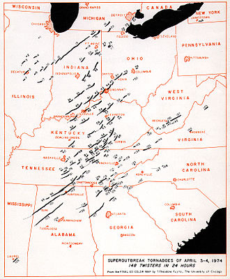1974 Super Outbreak - Paths of the 148 tornadoes generated during the 1974 Super Outbreak.