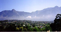 Swellendam with the Clock Peaks (1710m) of the Langeberg in the background
