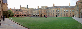 Great Hall of the University of Sydney - The Quadrangle, the University of Sydney, viewed from Great Hall