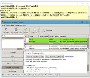 8221c142de772e Synaptic utilisé depuis bash sous Windows 10 avec un serveur X tiers (ici,  Xming). La fenêtre du haut est celle du bash sous Windows.