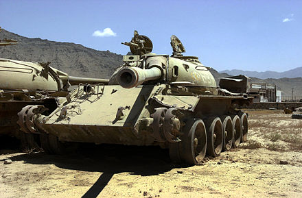 Two Soviet T-55 tanks left by the Soviet army during their withdrawal lie rusting in a field near Bagram Airfield, in 2002 T-54A and T-55 at Bagram Air Base.jpg