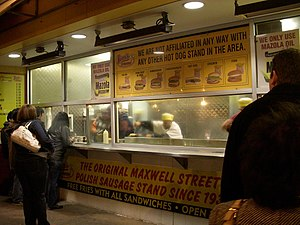 Maxwell Street Polish - Maxwell Street Polish Hot Dog Stand in service at 4 in the morning in 2008.