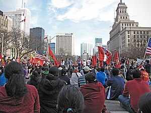 Protests against the Sri Lankan Civil War in Canada - Protesters occupying University Avenue in Toronto on 29 April 2009