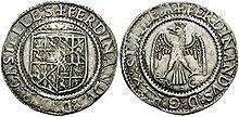 Tarì d'argento di Ferdinando il Cattolico, re di Spagna e Sicilia (1479-1516) coniato nella zecca di Messina