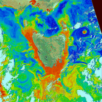 Coastal zone color scanner - Ocean color around Tasmania (false color).  Red and orange colors indicate high levels of phytoplankton.