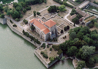 Tata, Hungary - Aerialphotography of the fortress