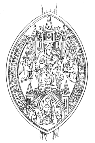 """Tavistock Abbey - Seal of Tavistock Abbey affixed to a lease of 1542, showing St Mary with the infant Jesus seated on her lap, with a mitred abbot seated below, all surrounded by the legend: SIGILLUM ECCLESI(A)E S(AN)C(TA)E MARI(A)E ET S(AN)C(T)I RUMONI TAVISTOCK (""""seal of the Church of Saint Mary and of Saint Rumon of Tavistock"""")"""
