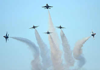 "United States Air Force Thunderbirds - One of the Thunderbirds' maneuvers, the ""delta burst."""