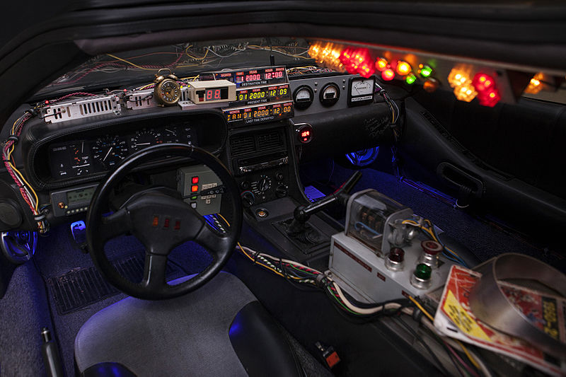 "Inside the cabin of the DeLorean time machine in ""Back to the Future."""