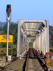 A single line rail bridge