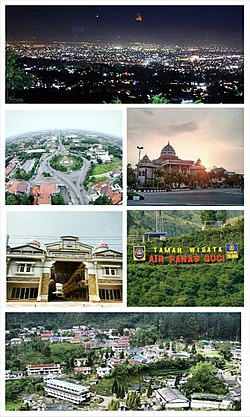 Clockwise from top: Tegal Regency scenery from the top of Star hills, Great Mosque of Tegal Regency, Guci Tourism Site, Countryside scenery in Guci village, Adiwerna City Walk and Slawi Town Roundabout