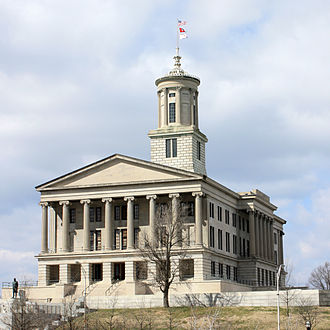 William Strickland (architect) - Tennessee State Capitol, Nashville (1845-59). Strickland is buried in a crypt within.