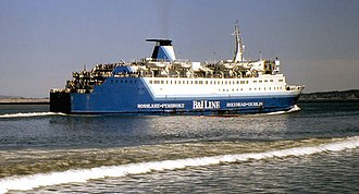 British and Irish Steam Packet Company - Leinster departing Dublin in 1989