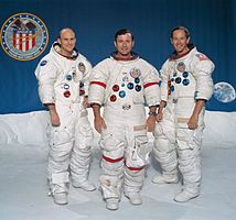 Apollo 16 – v. l. n. r. Ken Mattingly, John Young, Charles Duke