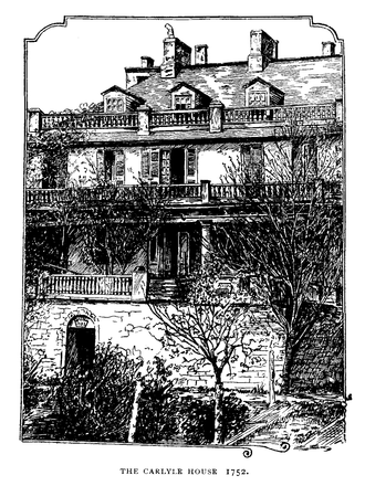 Carlyle House - 1909 drawing of the Carlyle House