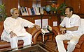 The Chief Minister of Odisha, Shri Naveen Patnaik meeting the Union Minister for Railways, Shri D.V. Sadananda Gowda, in New Delhi on June 04, 2014.jpg